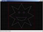 An XY-symmetrical polygon with several smaller polygons in it.